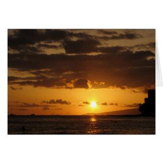 Coucher du soleil de Waikiki Carte De Vœux