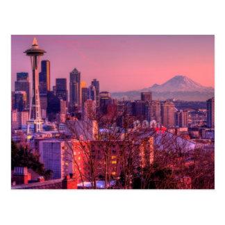 Coucher du soleil derrière l'horizon de Seattle du Cartes Postales