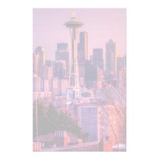 Coucher du soleil derrière l'horizon de Seattle du Papier À Lettre Personnalisable