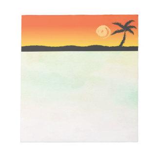 Coucher du soleil d'île blocs notes