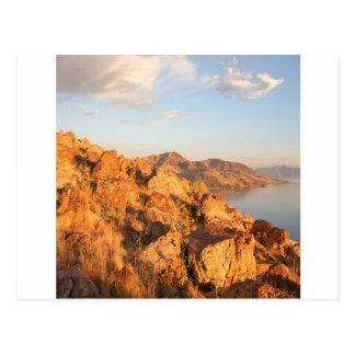 Coucher du soleil d'île d'antilope de montagne carte postale