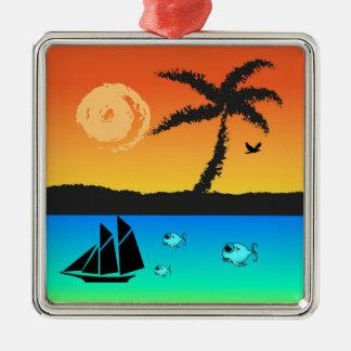 Coucher du soleil d'île ornement carré argenté