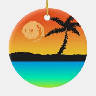 Coucher du soleil d'île ornement rond en céramique