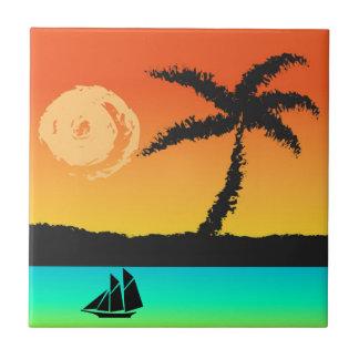 Coucher du soleil d'île petit carreau carré
