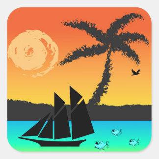 Coucher du soleil d'île sticker carré