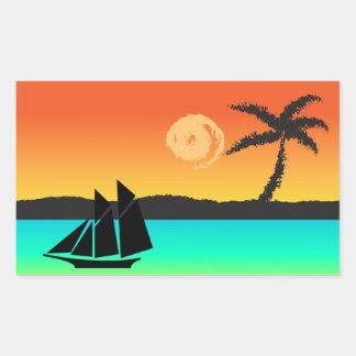 Coucher du soleil d'île sticker rectangulaire
