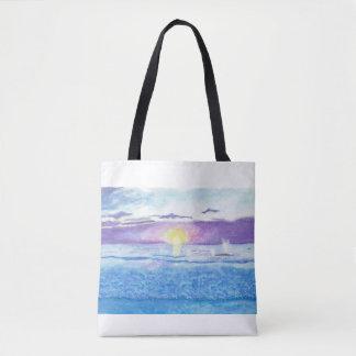 Coucher du soleil d'océan avec le sac d'aquarelle