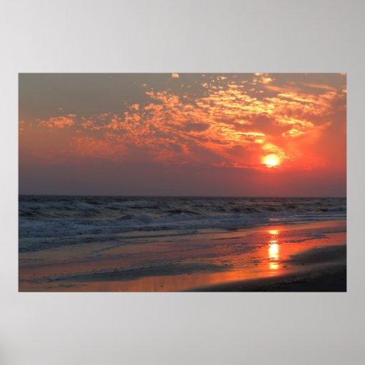 Coucher du soleil d'océan - île de chêne, OR Poster