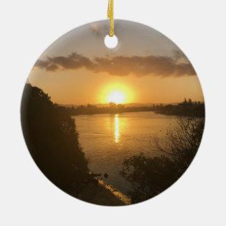 Coucher du soleil d'ornement de cercle ornement rond en céramique