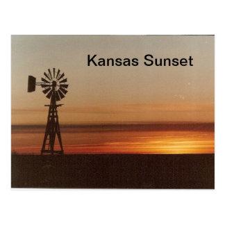 Coucher du soleil du Kansas Carte Postale