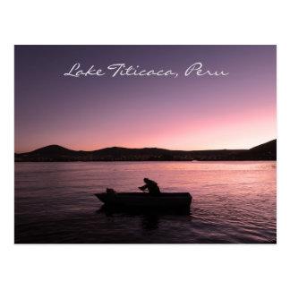 Coucher du soleil du Lac Titicaca au Pérou Carte Postale