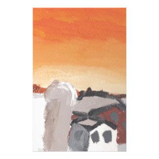 coucher du soleil du soleil de maison de ferme de papeterie