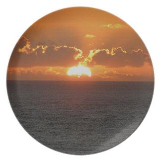 Coucher du soleil du sud .3. de roche de Devon Assiette