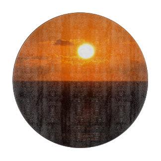 Coucher du soleil du sud d'automne de roche de planches à trancher