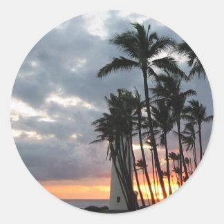 Coucher du soleil en Hawaï Sticker Rond