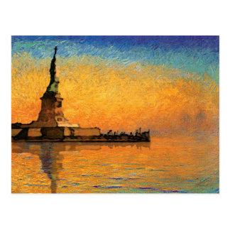Coucher du soleil en île de liberté cartes postales