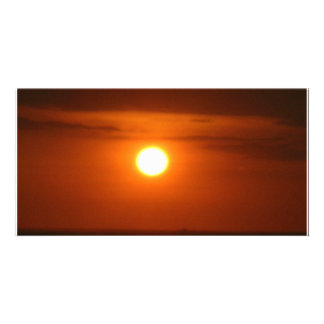 coucher du soleil en mer cartes de vœux avec photo