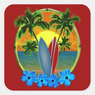 Coucher du soleil et planches de surf sticker carré