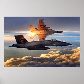 Coucher du soleil F-18 Posters