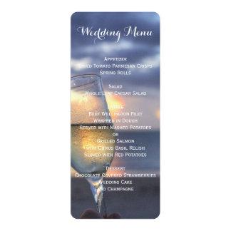Coucher du soleil fait sur commande sur le menu de carton d'invitation  10,16 cm x 23,49 cm