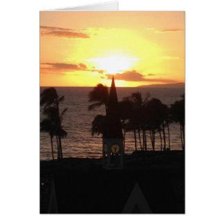 Coucher du soleil hawaïen carte de vœux