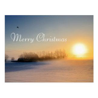Coucher du soleil le jour de Noël dans la campagne Carte Postale