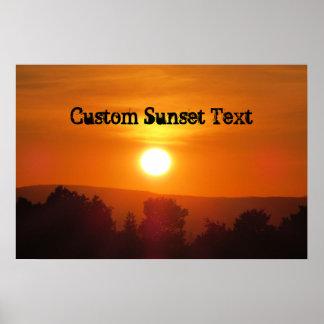 Coucher du soleil orange fait sur commande poster
