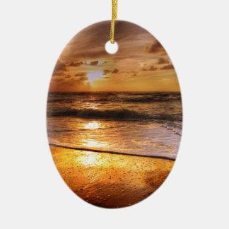 Coucher du soleil ornement ovale en céramique