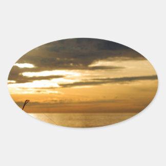 coucher du soleil Pacifique d'or Sticker Ovale