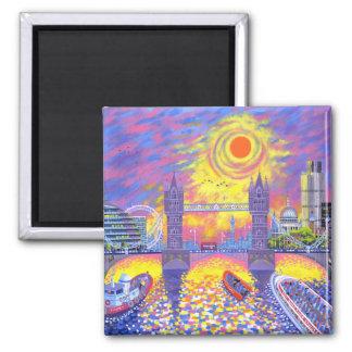 Coucher du soleil : Piscine de Londres 2013 Aimant