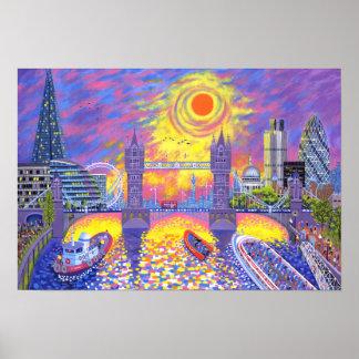 Coucher du soleil : Piscine de Londres 2013 Posters
