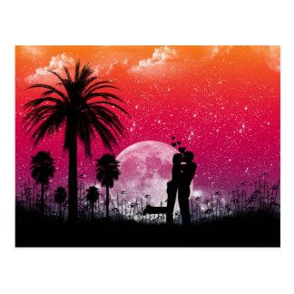 Coucher du soleil romantique dans la carte postale
