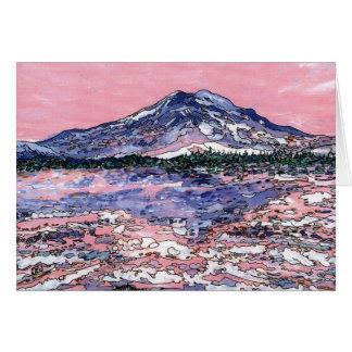 Coucher du soleil rose carte de vœux