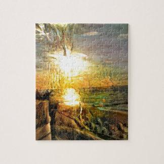 Coucher du soleil sur la plage puzzle