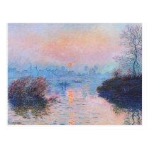 Coucher du soleil sur la Seine par Claude Monet Carte Postale