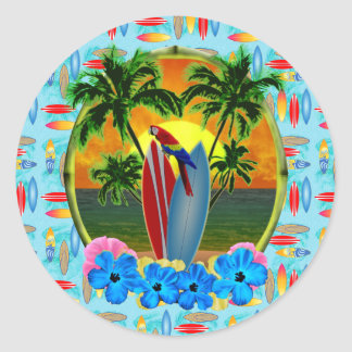 Coucher du soleil tropical sticker rond