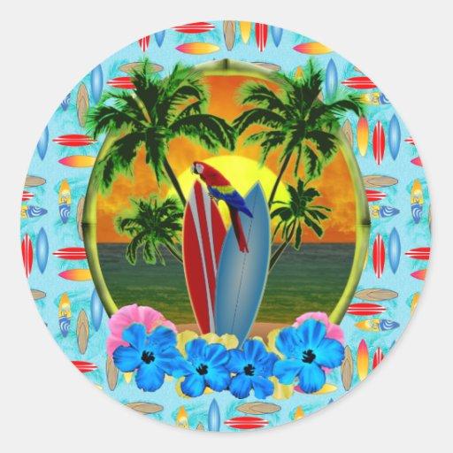 Coucher du soleil tropical autocollant rond