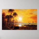 Coucher du soleil tropical avec l'affiche de batea