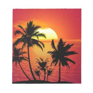 Coucher du soleil tropical de plage d'été de bloc-note