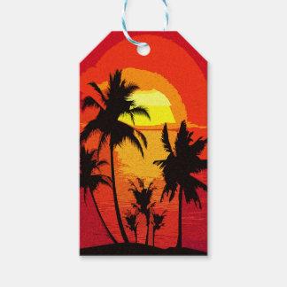 Coucher du soleil tropical étiquettes-cadeau