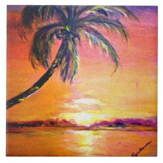 Coucher du soleil tropical grand carreau carré