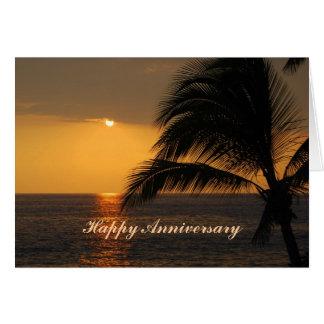 Coucher du soleil tropical hawaïen d'anniversaire carte de vœux