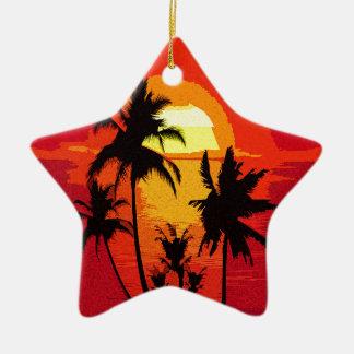 Coucher du soleil tropical ornement étoile en céramique