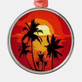 Coucher du soleil tropical ornement rond argenté