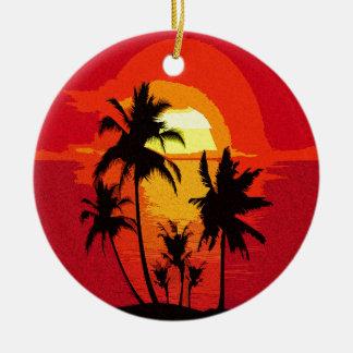 Coucher du soleil tropical ornement rond en céramique