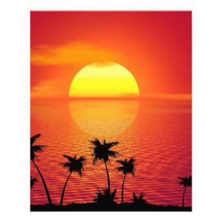 Coucher du soleil tropical prospectus 11,4 cm x 14,2 cm