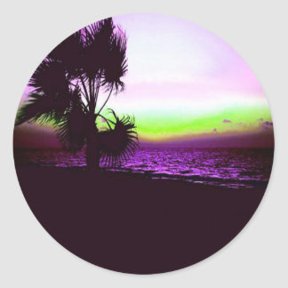 Coucher du soleil tropical sticker rond