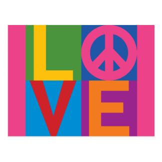 Couleur-Bloc LOVE=Peace Cartes Postales