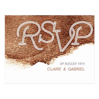 Couleur de cuivre peinte RSVP l'épousant simple Carte Postale