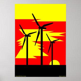 Couleur de lever de soleil de moulin à vent - poster
